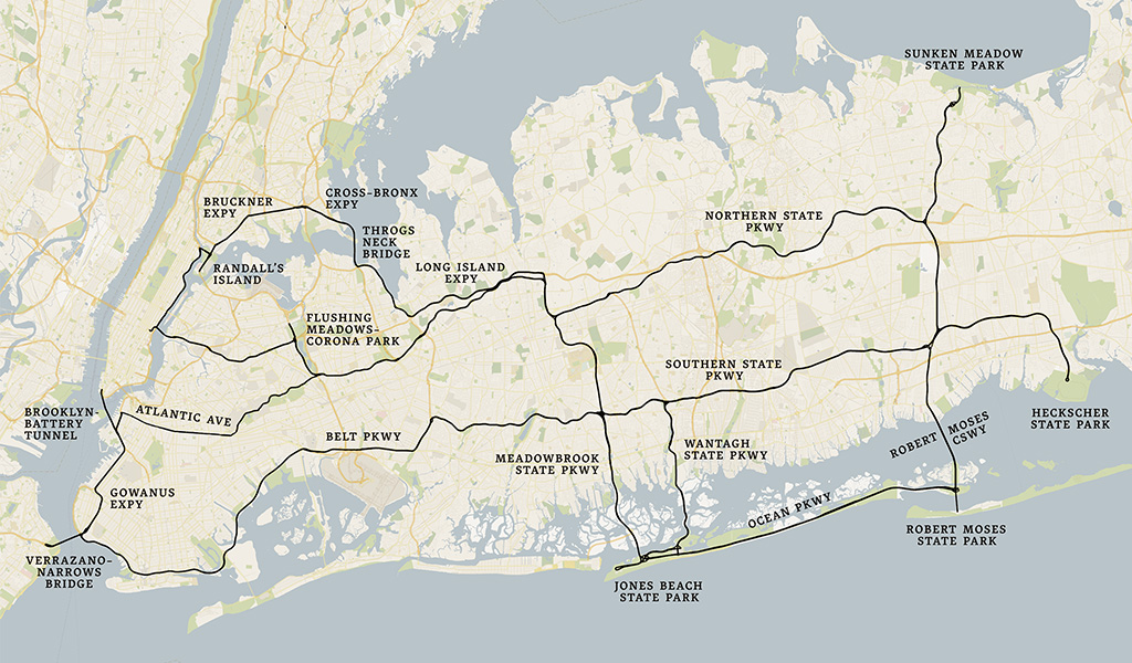 A Map Of My Road Trip All Those Things Were Envisioned And Created By Robert Moses